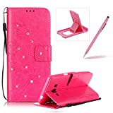 Wallet Case for Samsung Galaxy Grand Prime G530,Strap Portable Leather Case For Samsung Galaxy Grand Prime G530,Herzzer Stylish Bling Diamonds Hot Pink Butterfly Embossed Pu Leather Purse Pouch Magnetic Closure Flip Folio Protective Case