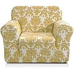 CHUN YI Printed Sofa Covers 1-Piece Spandex Fabric Slipcover (Chair, Yellow Flower)