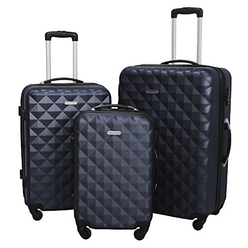 3 PC Luggage Set Durable Lightweight Hard Case Spinner Suitecase LUG3 SS577A NAVY NAVY