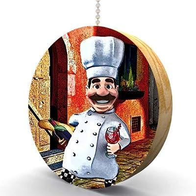 Italian Chef with Wine Hardwood Oak Fan / Light Pull