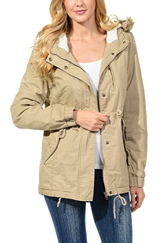 Womens Faux Fur Hoodie Sherpa Lined Military Safari Utility Fashion Parka Jacket Khaki M