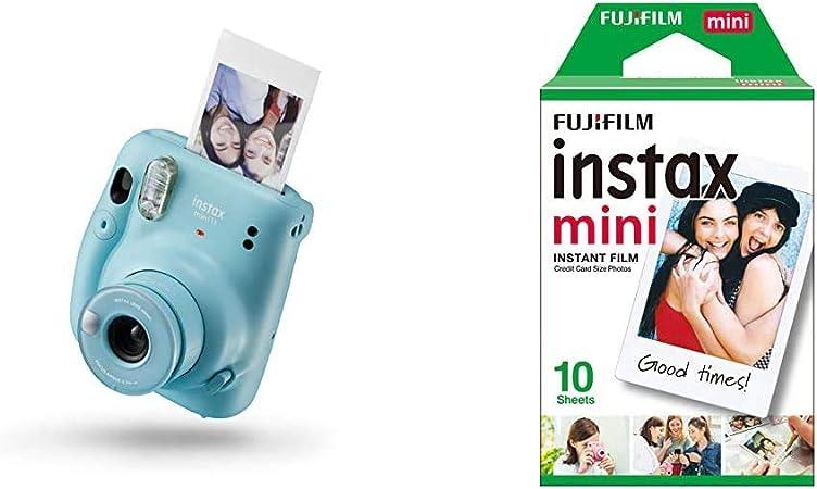 Instax Mini 11 - Cámara instantánea, Sky Blue + Fujifilm Instax Mini Brillo Película fotográfica instantánea (10 Hojas): Amazon.es: Electrónica