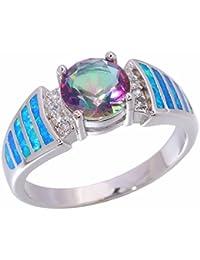 Blue Fire Opal Mystic Topaz Zircon Rhodium Plated Women Jewelry Gemstone Ring Size 5-11