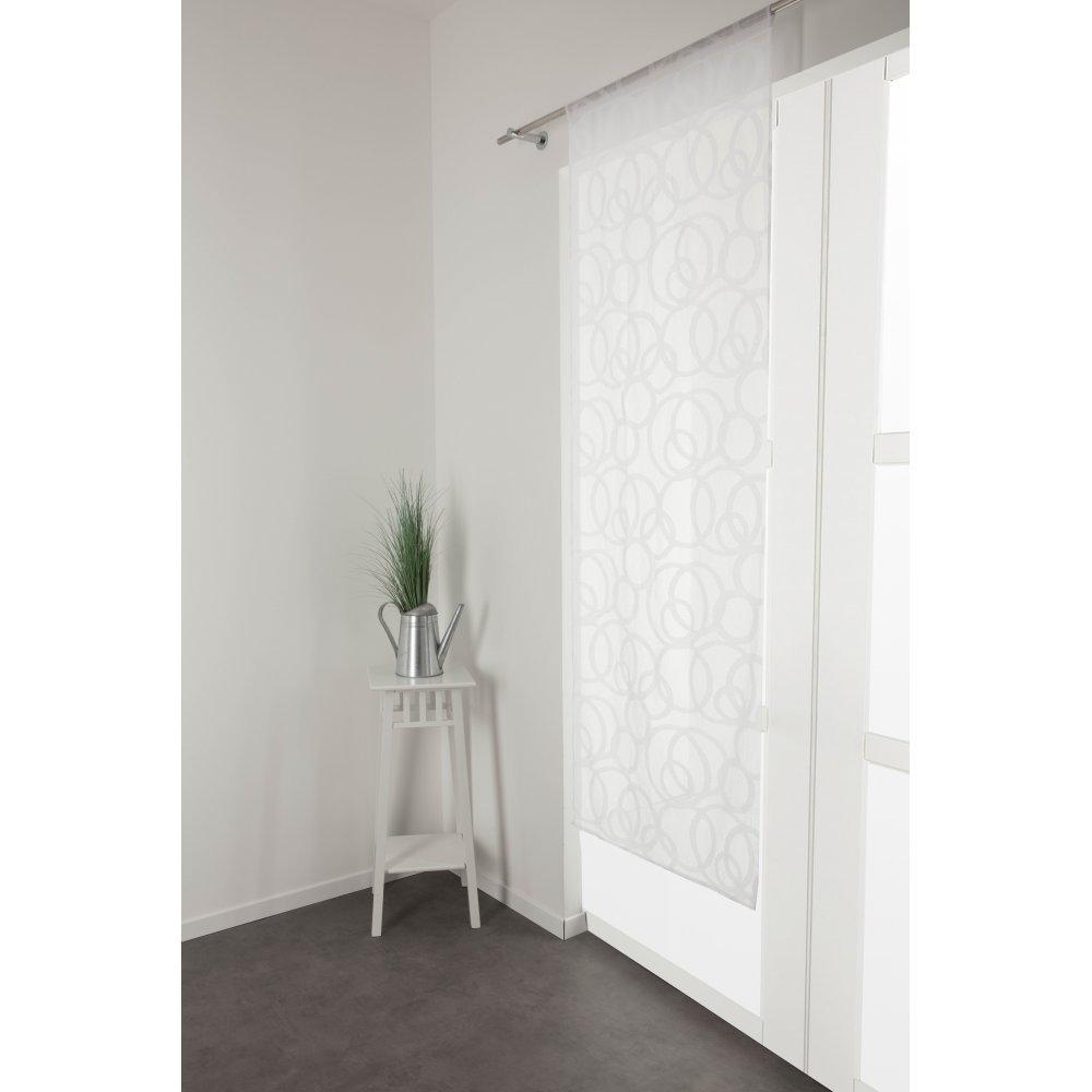 RideauDiscount Voilage Vitrage 70 x 200 cm Passe Tringle Style Scandinave Motif Contemporain Ronds Brod/és Blanc