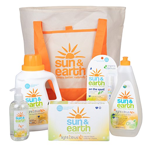 Natural Cleaning Supplies Set – Non-Toxic, Hypoallergenic Laundry Detergent, Dryer Sheets, Hand Soap, Dish Soap, and Stain Pen – Housewarming, Yoga Studio, Dorm Room