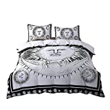 Sleepwish Sun God Duvet Cover 3 Piece Sun Moon Star Bedding Celestial Duvet Cover Hippie Black and White Bedding (Twin)
