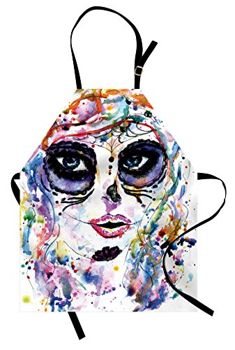 Ambesonne Sugar Skull Apron, Halloween Girl with Sugar Skull Makeup Watercolor Painting Style Creepy Look, Unisex Kitchen Bib Apron with Adjustable Neck for Cooking Baking Gardening, Pale Lavender