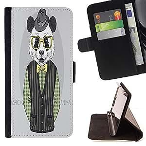 King Case - FOR Samsung Galaxy S4 IV I9500 - ?change your smile - Prima caja de la PU billetera de cuero con ranuras para tarjetas, efectivo Compartimiento desmontable y correa para la mu?eca