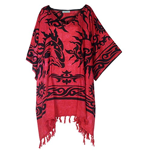 Tropicalsale Women's Plus Size Sun Dolphin Pink Red Caftan Tunic Hippy Top