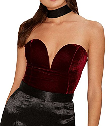 Lace Up Back Bodystocking (Women's Sweet and Low Velvet Bodysuit Lace Up Back,Burgundy,X-Large)