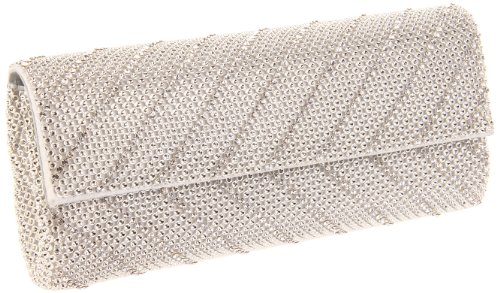 Whiting and Davis  Crystal Chevron Flap Clutch,Silver,One Size, Bags Central