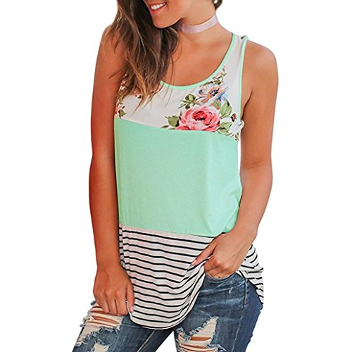 Floral Print Silk Blouse - Women Blouse Casual Floral Stripe Print Patchwork Sleeveless T Shirt Green