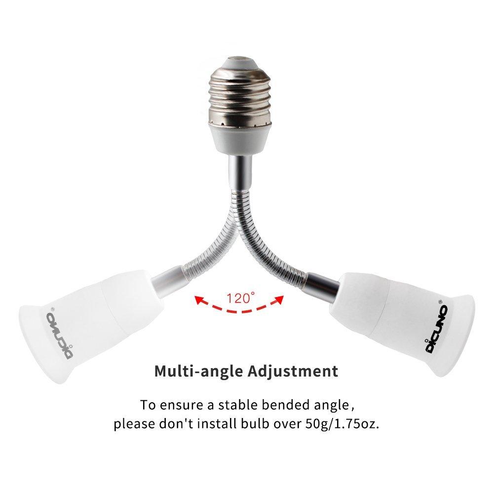 paquet de 2 adaptateur de base de lampe dextension convertisseur de prise dampoule moyenne flexible DiCUNO E27 support de lampe r/églable 360 degr/és pliable