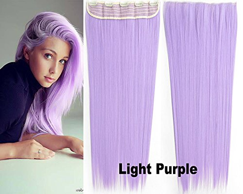 Beauty Wig World Women One Piece Long Straight Wavy Synthetic Thick Hair Extension Clip-on Hairpieces for Cosplay #Light Purple (Light Purple) ()