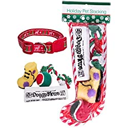 Stockings for Dogs + Christmas Dog Collar Size Large 2 Piece Bundle Includes 4 Dog Toys Perfect Pet Stockings Christmas Gift