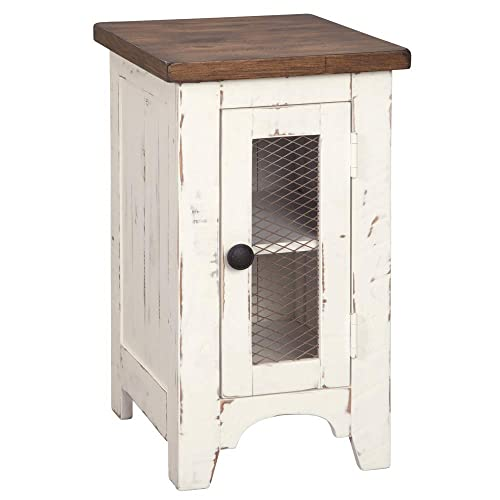 Signature Design by Ashley – Wystfield Farmhouse Chairside End Table, White Brown