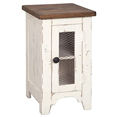 Signature Design by Ashley T459-7 Wystfield Chairside End Table, White/Brown
