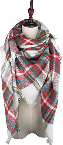 White Plaid Scarf (VIVIAN & VINCENT Soft Classic Luxurious Blanket Tartan Square Scarf Wrap Christmas Red Green C33)