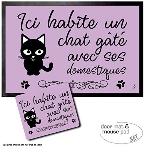 (Set: 1 Door Mat Floor Mat (24x16 inches) + 1 Mouse Pad (9x7 inches) - Cats, Ici Habite Un Chat Gâté Avec SES Domestiques)