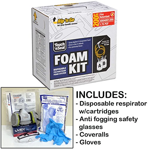Fire Retardant Foam Insulation - Touch 'n Seal U2-200 1.75 PCF Class A Fire Retardant ICC Closed Cell Polyurethane Spray Foam Insulation Kit 200BF withBONUS Protective Gear (Regular Gear)