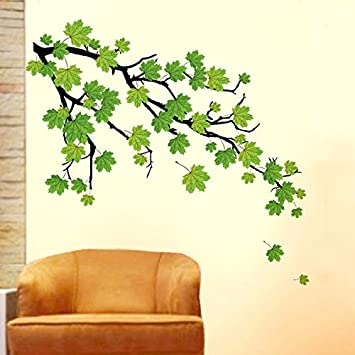 Buy Decals Design Green Autumn Leaves Branch Wall Sticker PVC