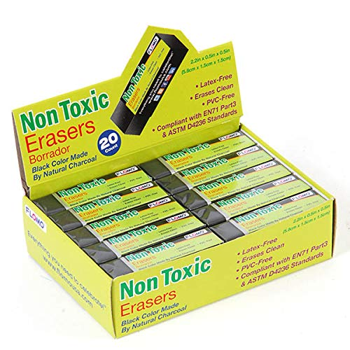 FLOMO Non Toxic Natural Small Charcoal Eraser 20 Pack by FLOMO