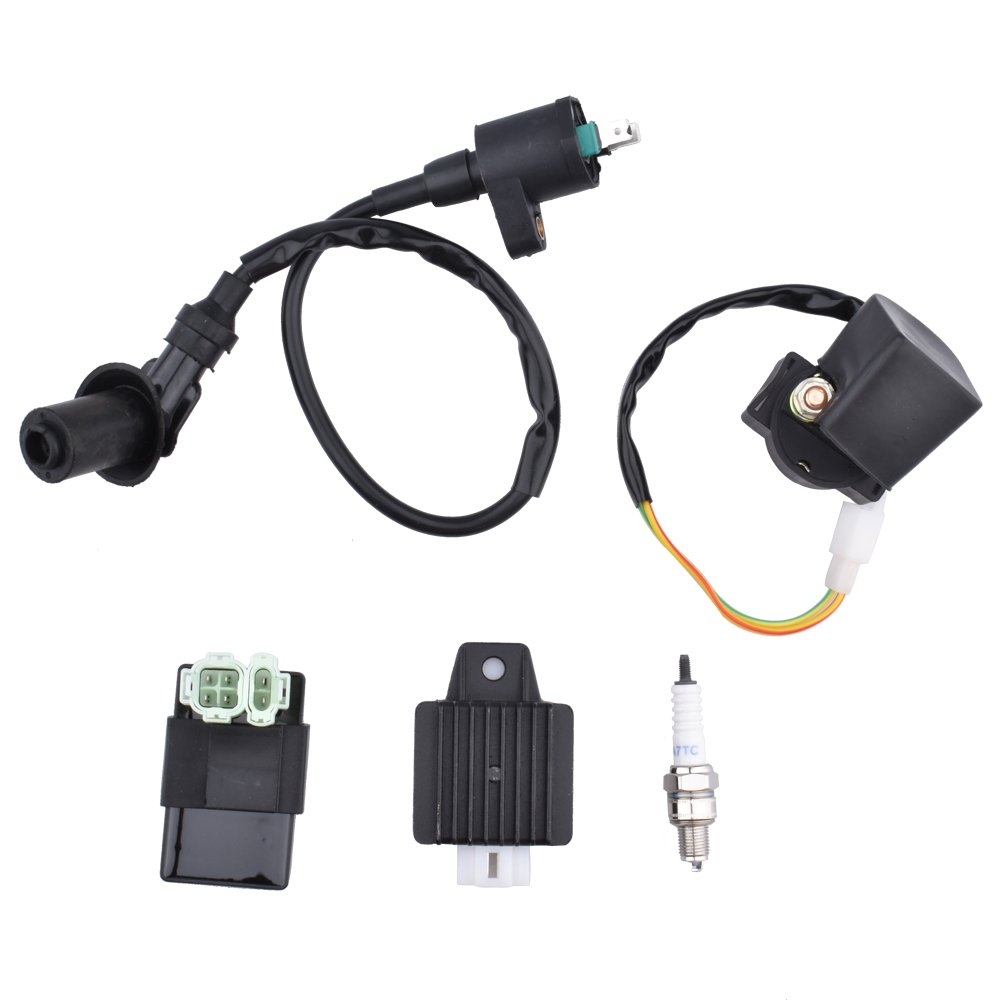 Minireen Ignition Coil Cdi Solenoid Relay Voltage Crossfire 150r Go Kart Wiring Harness Regulator Spark Plug For Gy6 50cc 125cc 150cc Atv Scooter Moped Automotive