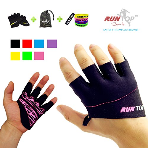 RUNTOP Workout Gloves Weight Lifting Grips with Silicon Padding Exercise Gloves Perfect for Women Men Crossfit Training WODS Weightlifting Bodybuilding Powerlifting Gym Fitness (Hot Pink, M)