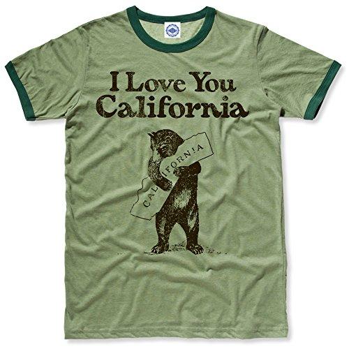 Love Ringer (Hank Player I Love You California' Men's Ringer T-Shirt (M, Heather Green))