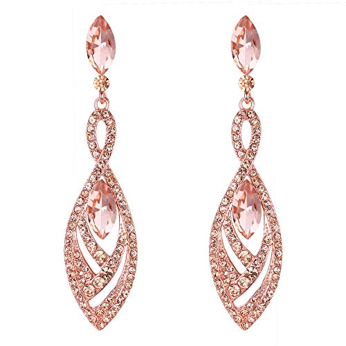 BriLove Fashion Dangle Earrings for Women Crystal Gorgeous Twisted Dual Teardrop Chandelier Earrings Peach Morganite Color Rose-Gold-Toned