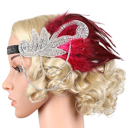 Flapper Girl Silver 1920s Headpiece Vintage Headband Flapper Great Gatsby Costume (Burgundy) ()