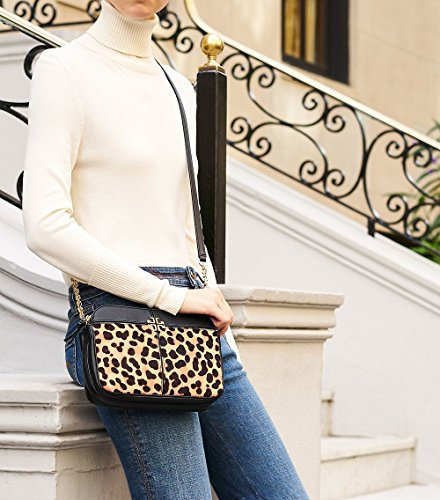 Burch Hair Black Crossbody Print Leopard Leopard Ivy Calf Tory vZzUU