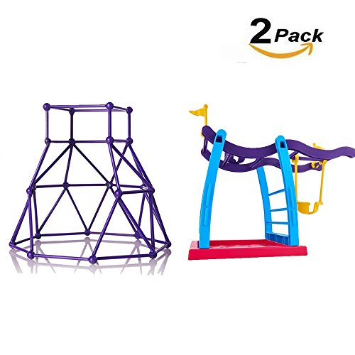 Neatotek 2 Pack Swing Set Jungle Gym Playset For Fingerlings Monkey Kids Gift