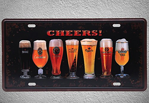 Pub Plaque (NEWNESS WORLD CHEERS BEER PATTERN 1 Metal Tin Hanging Metal Sign Metal Plate Plaque for Pub/Bar/Home Wall Decoration(6 by 12 Inches))