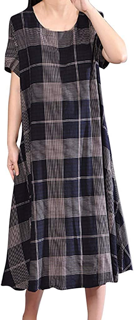 Witspace Fashion Women Casual O-Neck Short Sleeve Plaid Printed Loosed Dress