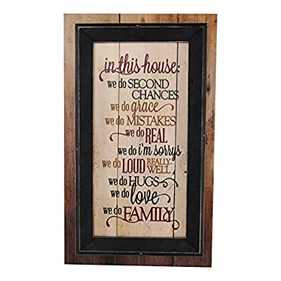 MRC Wood Products In This House We Do Second Chances We Do Family Framed TimberPrintz Pallet Sign 12x20