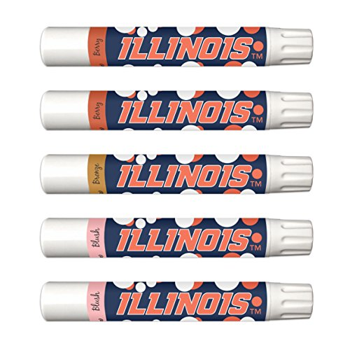 NCAA Illinois Fighting Illini 5-Piece Shimmer Lip Balm Set. 3 Different Shades-Add That Pop of Color: Blush, Bronze, Berry. NCAA Gifts for Women, Mother's Day, Easter, Stocking Stuffers, Birthdays