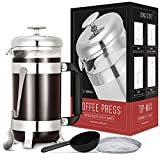 Coffee Press, TOP-MAX French Press Coffee Maker with 4 Level Filtration System(8 Cup, 34 oz), FDA Approved Material, Heat Resistant Borosilicate Glass