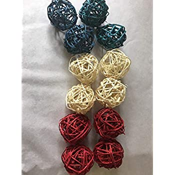 Amazon Com Decorative Spheres Red White And Blue Rattan Ball Vase Filler Ornament Decoration