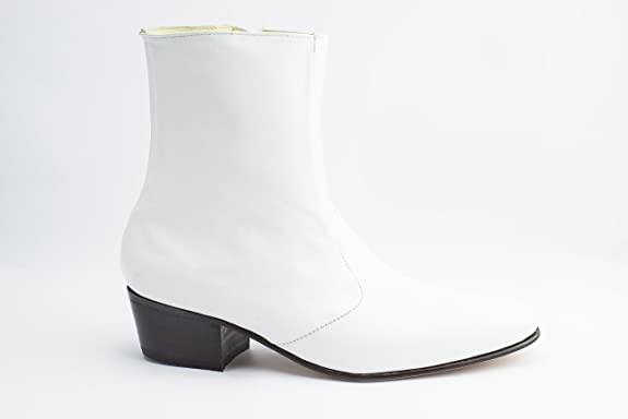 60s Mens Shoes | 70s Mens shoes – Platforms, Boots Luciano White Boots for Mens Elvis Costumes-100% leather  AT vintagedancer.com