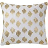 inkivy nadia dot metallic embroidery square pillow gold - Gold Decorative Pillows