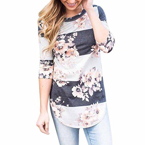 blusas de mujer de moda 2017 manga larga Switchali ropa de mujer en oferta casual camisetas mujer verano baratas floral blusas de mujer elegantes de fiesta otoño Gris