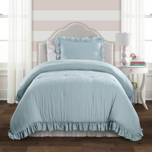 Lush Decor Reyna Comforter Lake Blue Ruffled 2 Piece Set with Pillow Sham Twin XL Size Bedding (Bedding Ruffle Blue)