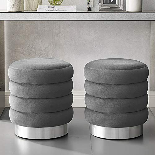 MEXIYA Della Grey Textured Velvet Ottoman with Silver Finish Stainless Steel Base,Pack of ()