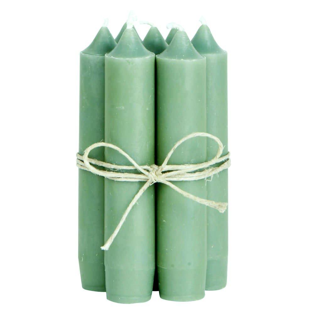 Lot de 8 bougies piliers NPR Ib Laursen - Vert olive