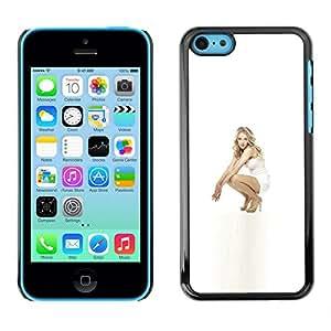 EJOY---Cubierta de la caja de protección la piel dura para el / iPhone 5C / --Muchacha en blanco