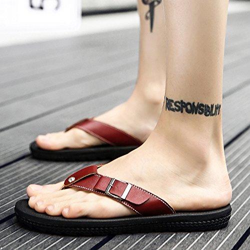 Sandali uomo antiscivolo Estate pelle Sandali Infradito Pantofole Uomo AIHUWAI in B uomo casual da da Brown Sandali Pantofole Sandali dq1WwX