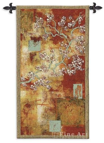 (Damask Blossom by Laurel Lehman - Woven Tapestry Wall Art Hanging for Home Living Room & Office Decor - Abstract Cherry Blossom Gold Leaf Tree in Damask Pattern - 100% Cotton - USA 53X30)