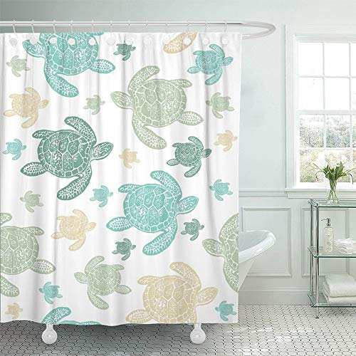 - Emvency Shower Curtain Set Waterproof Adjustable Polyester Fabric Blue Sea Turtles Colorfully Pattern Realistic Engraved Style of on White Green 66 x 72 Inches Set with Hooks for Bathroom