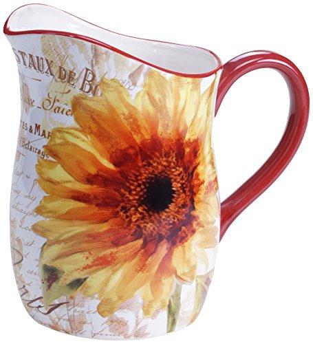 Certified International Paris Sunflower Pitcher, 3 quart, Multicolor De Paris Pitcher